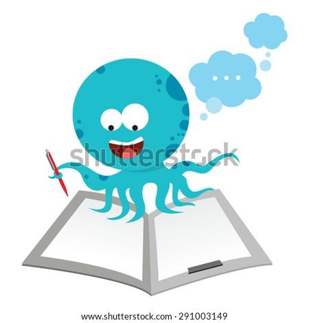 Octopus writing report. Cartoon Octopus brainstorming. - stock vector