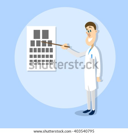 Oculist Ophthalmologist Doctor Point Examination Table Visual Acuity Hospital Vector Illustration - stock vector