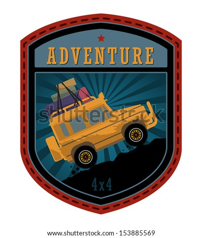 Off-road adventure label or sign, vector illustration