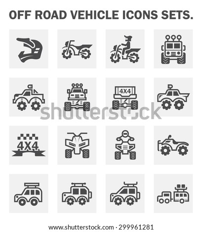 Off-road and motocross vector icon set. - stock vector