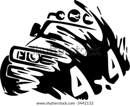 Off Road Car. Ready for vinyl cutting. - stock vector