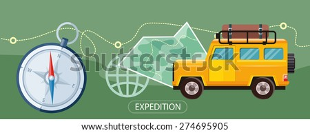 Off-road car with map and compass on road. Investigation untouched corners of nature. Travel by land. Hiking, travel, expedition. Outdoor adventure in flat design - stock vector