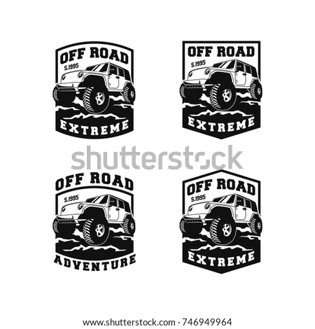 Off road car 4x4 vehicle event stock vector 746949964 for 4x4 label template