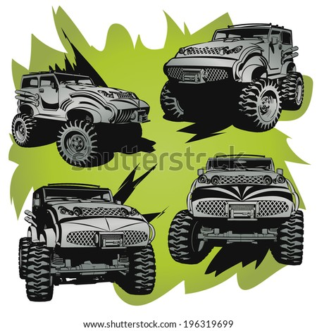 Off-Road cars.Objects are located on a separate layer. - stock vector