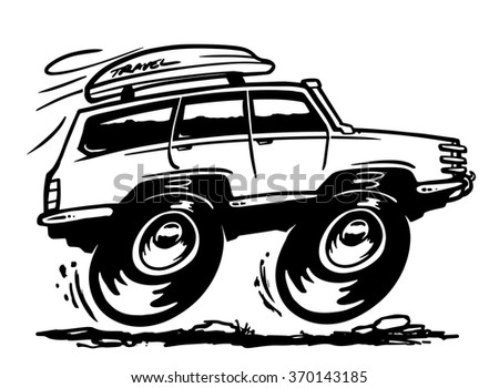 Off road travel car in black and white style. Vector sketch illustration - stock vector