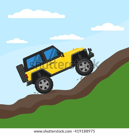 Off-road vehicle drives on a mountain against the sky. Extreme Sports - 4x4 Utility Vehicle SUV. Vector Illustration flat style for web design banner or print - stock vector