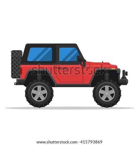 Off-road vehicle isolated on white background. Extreme Sports - 4x4 Sports Utility Vehicle SUV. Vector Illustration flat style for web design banner or print - stock vector