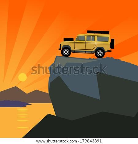 Off-road vehicle mountain adventure background, vector illustration - stock vector