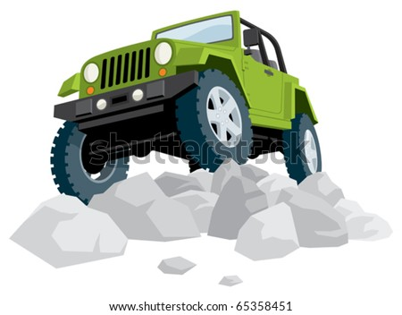 Off-road vehicle over heap of stones.