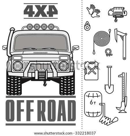 Off Road 4 X 4 Car Truck Equipment Stock Vector 332218037 - Shutterstock