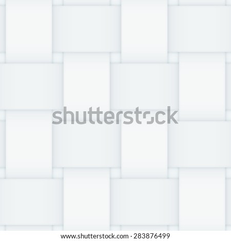Off white monochrome seamless pattern consisting of interwoven paper stripes. Shadows give it a 3d feeling. - stock vector