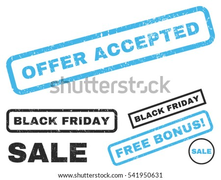 Offer Accepted rubber seal stamp watermark with bonus design elements for Black Friday sales. Vector blue and gray emblems. Tag inside rectangular banner with grunge design and dirty texture.