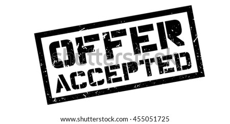 Offer accepted rubber stamp on white. Print, impress, overprint. - stock vector