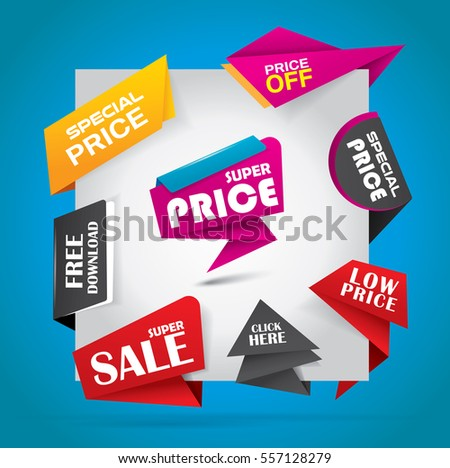 Offer and sale labels, stickers and bubbles in vibrant color variations - vector illustration