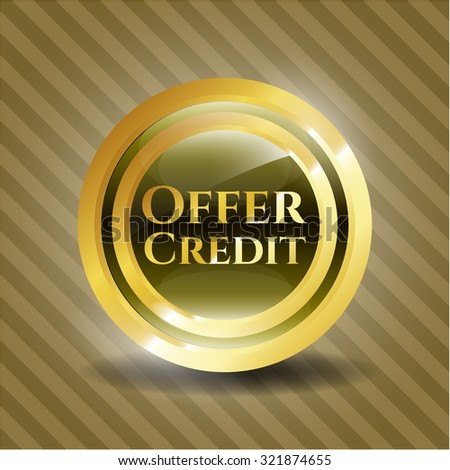 Offer Credit gold badge or emblem - stock vector