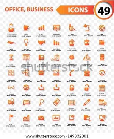 Office and business concept,Orange version,blank background,vector - stock vector