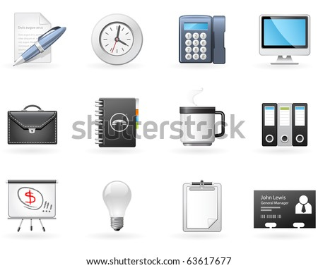 Office and Business icons - stock vector