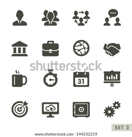 Office and business icons. Rounded Set 3. - stock vector