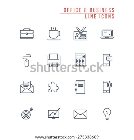 Office and Business Line Icons - stock vector