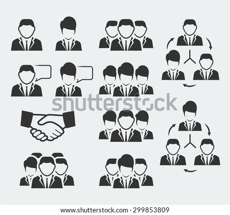 Office and business people icon set - stock vector