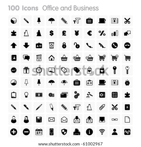 Office and Business Set of icons on white background in Adobe Illustrator EPS 8 format for multiple applications.