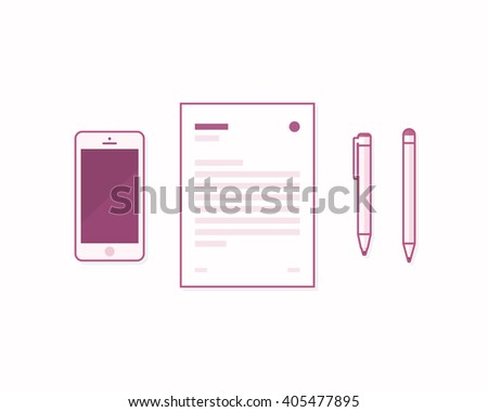 Office and business work elements. Mobile phone, paper, pen and pencil. Workplace and office equipment.