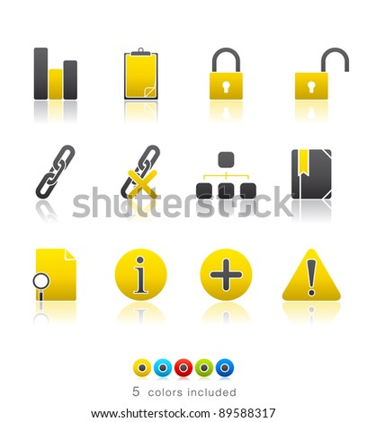 Office and Internet icon set13 – Multi Color Series.  Icon set in EPS 8 format with high resolution JPEG EPS file contains five color variations in different layers