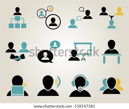 Office and people icon set. Vector illustration.