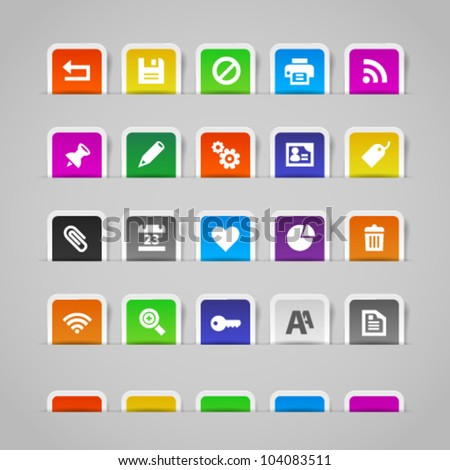 Office and web icons on colorful paper stickers, set 2. Image contains transparency - you can put it on every surface. 10 EPS