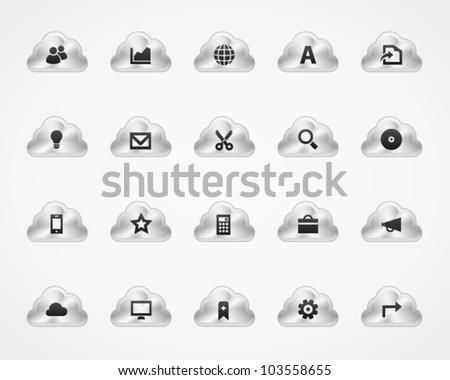 Office and web icons on metallic cloud buttons, set 3 - stock vector
