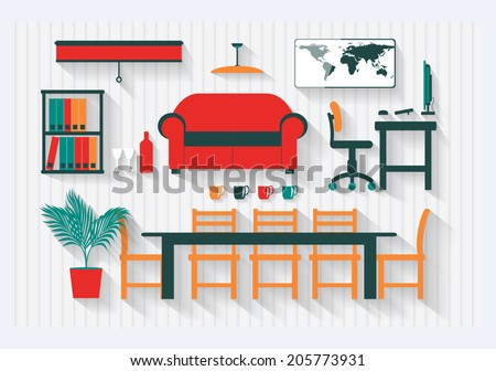 Office Boardroom with Computer and Furniture Long Shadows - All items grouped separately and easy to move or edit - stock vector