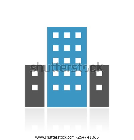 Office Building icon on a white background. - stock vector