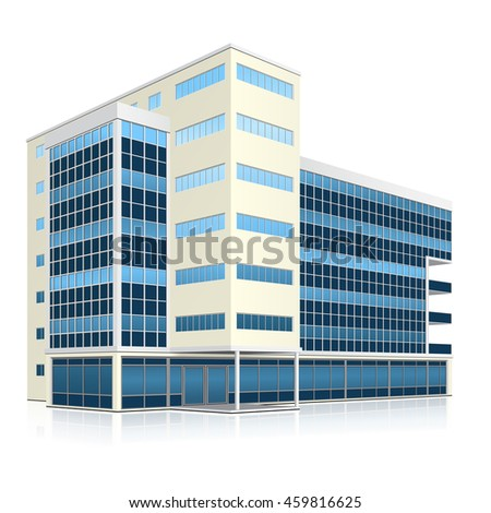 office building with entrance and reflection on white background