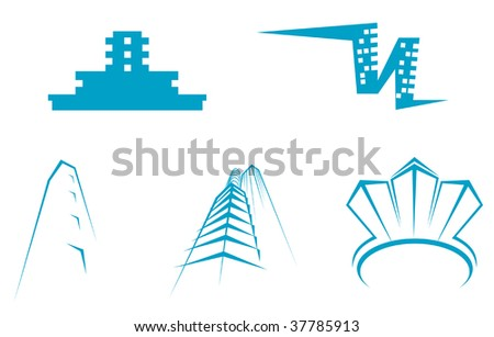Office buildings symbols for design - abstract emblem or logo template. Real estate industry - stock vector