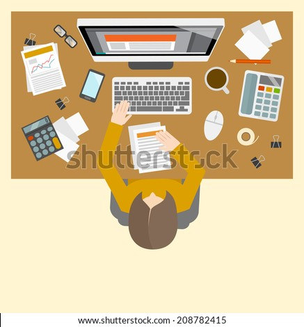 Office business accountant management workplace with female person investment growth computer icons vector illustration - stock vector