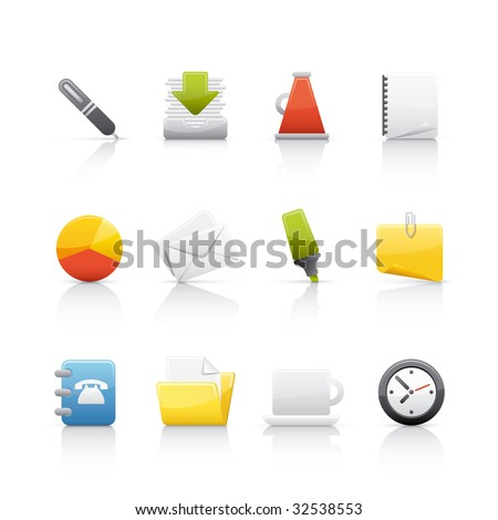 Office & Business Icon Set for multiple applications. In Adobe Illustrator EPS 8. - stock vector