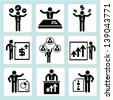 office, business management concept and human resource concept icons - stock vector