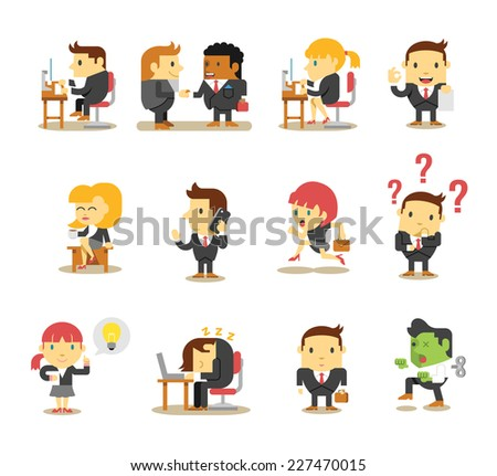 Office business people. Vector flat icon set - stock vector