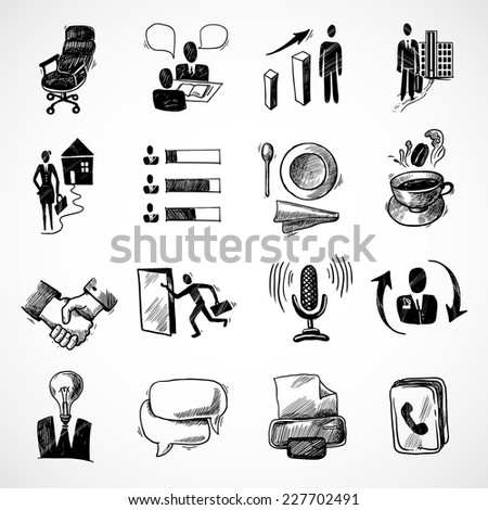 Office business sketch icons set with tea cup handshake chart isolated vector illustration - stock vector