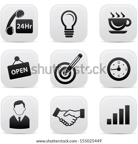 Office buttons,Black version,vector - stock vector