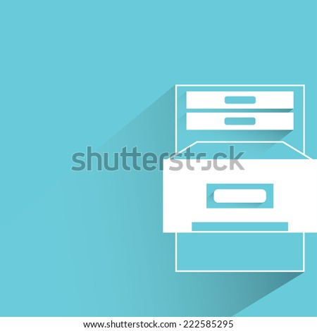 office cabinet in blue background, flat and shadow design - stock vector