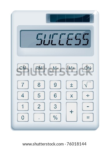 Office calculator displaying a ?SUCCESS? message. - stock vector