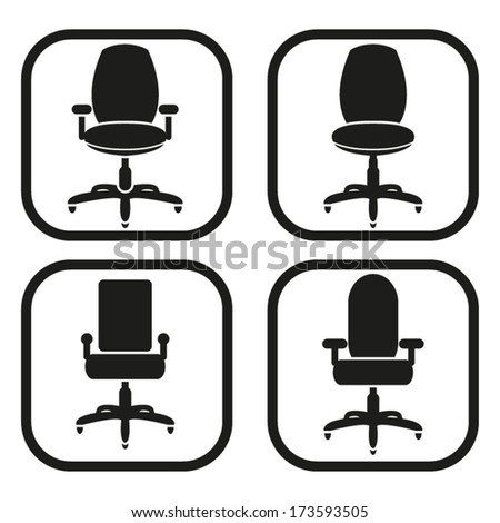 Office chair icon - four variations - stock vector