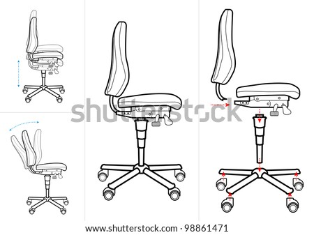 Office chair instructions drawing  sc 1 st  Shutterstock & Office Chair Instructions Drawing Stock Vector HD (Royalty Free ...