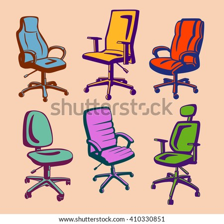 Set Office Chairs Hand Drawn Stock Vector 496719577 Shutterstock