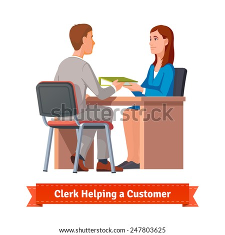 Office clerk working with customer. Woman giving a ring binder with documents to a man. Flat style illustration or icon. EPS 10 vector. - stock vector