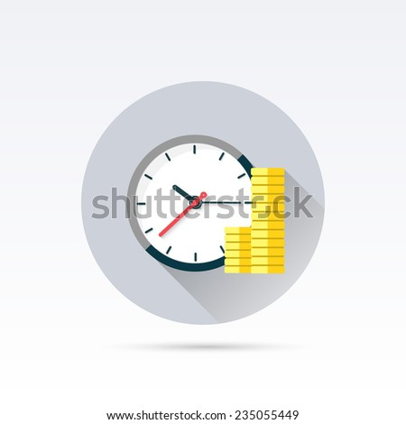 Office clock and Money. Time is money concept. Vector Illustration. - stock vector