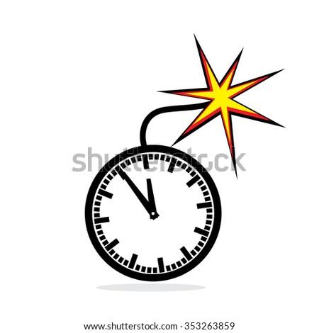 Office clock bomb as concept for deadline. Vector illustration - stock vector