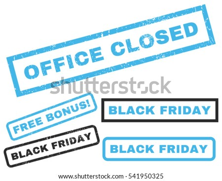 Office Closed rubber seal stamp watermark with additional images for Black Friday sales. Vector blue and gray stickers. Text inside rectangular shape with grunge design and dust texture.