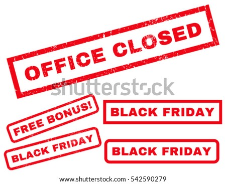 Office Closed rubber seal stamp watermark with additional images for Black Friday sales. Vector red signs. Tag inside rectangular banner with grunge design and dust texture.
